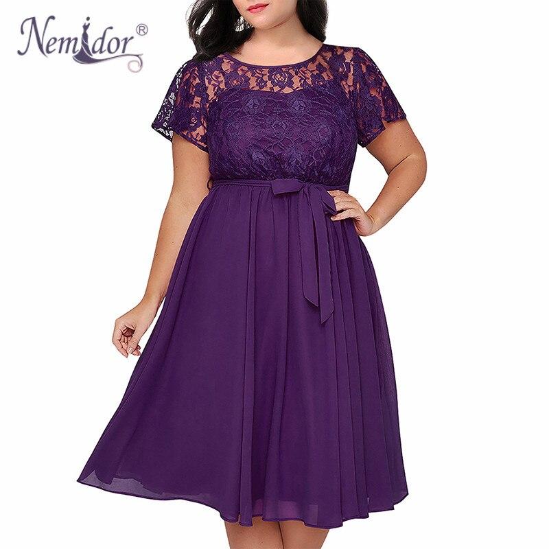 ea81b3f4027 Nemidor Women Vintage Short Sleeve Floral Lace Top A-line Dress O-neck Plus
