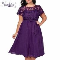 Nemidor Women Vintage Short Sleeve Floral Lace Top A line Dress O neck Plus Size 8XL 9XL Party Chiffon Midi Cocktail Swing Dress