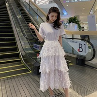 2019 Summer New Arrival Super Fairy Layer Dress Tshirt Stitching Tassels Women Long Dress White Ladies Dresses Free Shipping