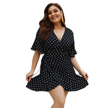Summer Big Size Dresses for Women Super Casual Slim Dot Sexy Club Mid Dress Ladies Oversized Plump Girl Elegant