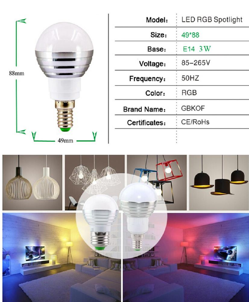 Adeeing 16 Color Changing Led Light Bulb With Remote Control Dimmable Rgbw Multicolor Led Light 85-265v/ E27/ 3w Buy Now Led Night Lights
