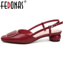 e06b29ca5 FEDONAS Mulheres Casuais Primavera Outono Sapatos de Festa Moda Mulher de  Alta Qualidade do Couro Genuíno Elegante Roma Sandália.