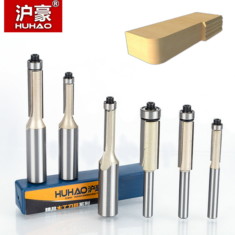 HUHAO 1pcs 1/4 1/2 Shank Flush Trim Router Bits for wood Trimming Cutters with bearing woodworking tool endmill milling cutter high grade carbide alloy 1 2 shank 2 1 4 dia bottom cleaning router bit woodworking milling cutter for mdf wood 55mm mayitr