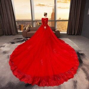 Image 4 - Vestido De Noiva 2019 New Mrs Vincere Il Rosso Sexy Del Manicotto Pieno Con Scollo A V Cappella Treno Abito di Sfera Della Principessa Da Sposa Depoca abiti F