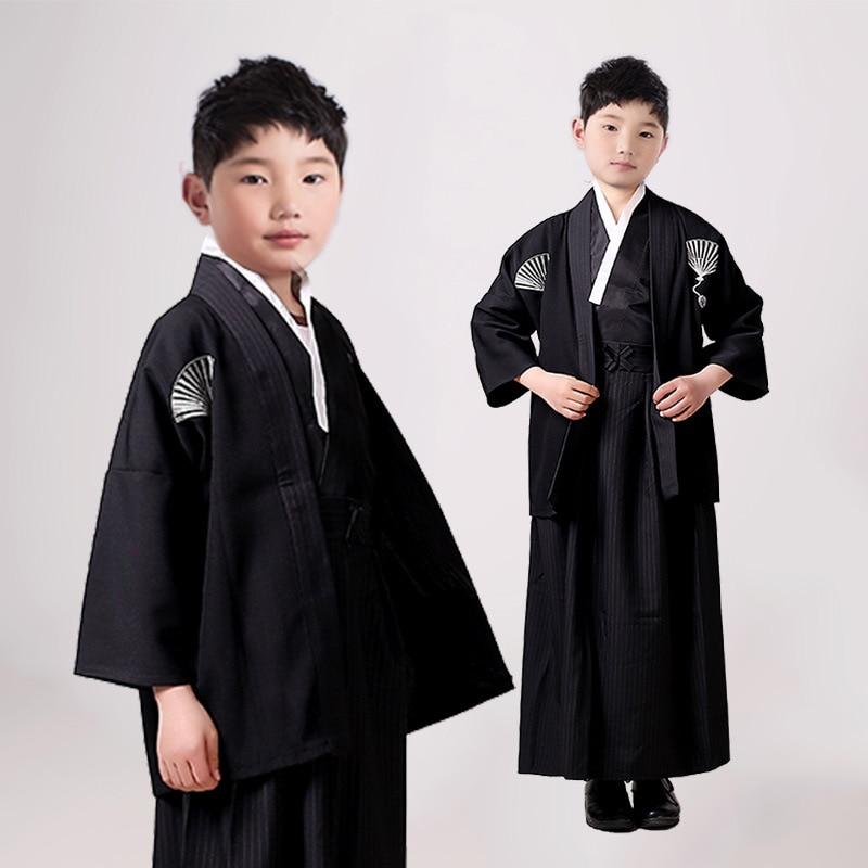 Boys Cosplay Costume Japanese Kids Kimono Yukata Traditional Samurai Robe Halloween Costumes Children Performance Clothes