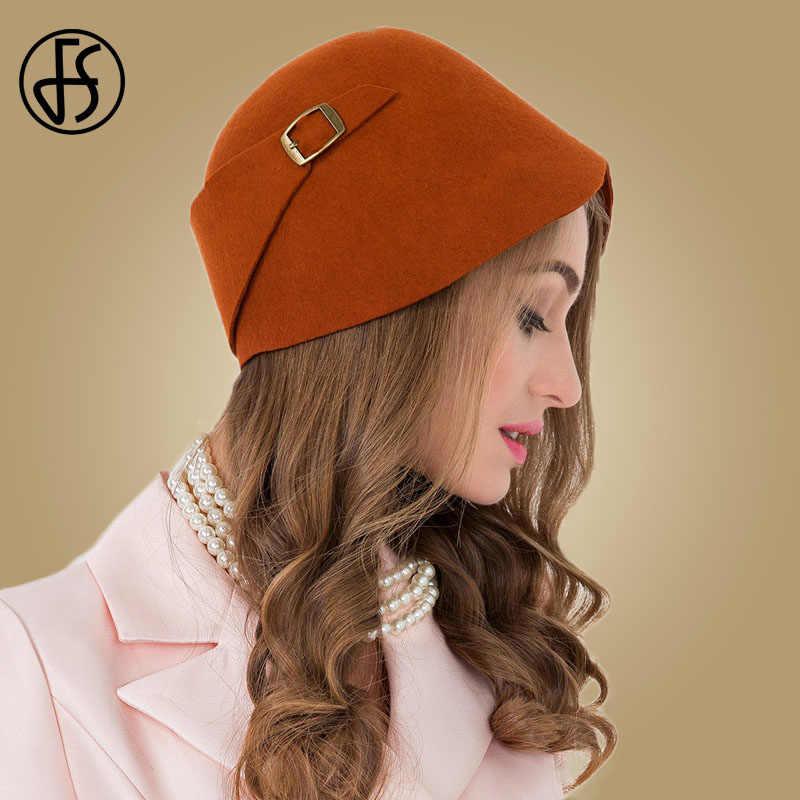 3d9e472ad5d FS Vintage Black Orange 100% Wool Cloche Hats Women Wide Brim Felt Fedora  Bowler Church