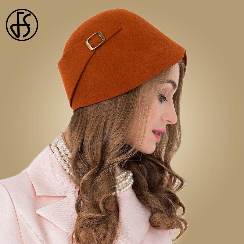 9f6fd13e19d51 FS Vintage negro naranja 100% lana Cloche sombreros de las mujeres de ala  ancha sombrero Bowler DE LA IGLESIA sombrero de invierno descuidado damas  Chapeau ...