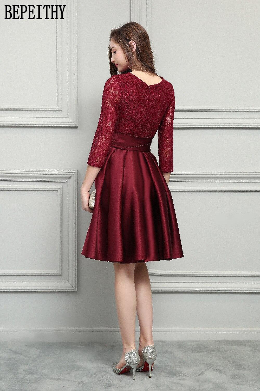 BEPEITHY Nový design Vestido De Festa Longo Scoop dlouhý rukáv luk - Šaty pro svatební hostiny - Fotografie 2