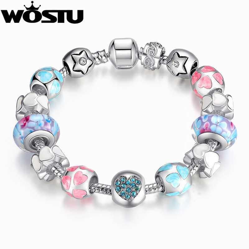European Style Romantic Silver 925 Heart Charm Murano Beads Bracelet for Women Fit Original  Bracelets  DIY Jewelry XCH1871