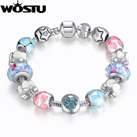European Style Romantic Silver 925 Heart Charm Murano Beads Bracelet For Women Fit Original WOS Bracelets
