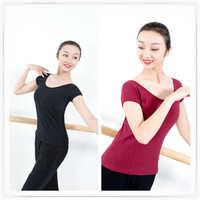 Professional Ballet Dance Tops For Women Girls Yoga Gym Shirts Short Sleeve Workout Fitness Running Classical Exercise T shirts