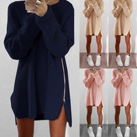 Plus Size S XL Fashion Loose Knitted Bottoming Long Sleeve Zipper Slit Sexy Women Autumn And