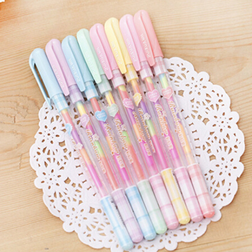 0.8mm 6 Color Change Pen Paper Fluorescent Paint Pens Pencils Writing Markers Highlighters Highlighter Pens Kids Painting Gift