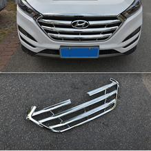 Accessories For Hyundai Tucson 2015 2016 2017 ABS Chrome Front Center Racing Grille Decoration Cover Trim Sticker Car Styling
