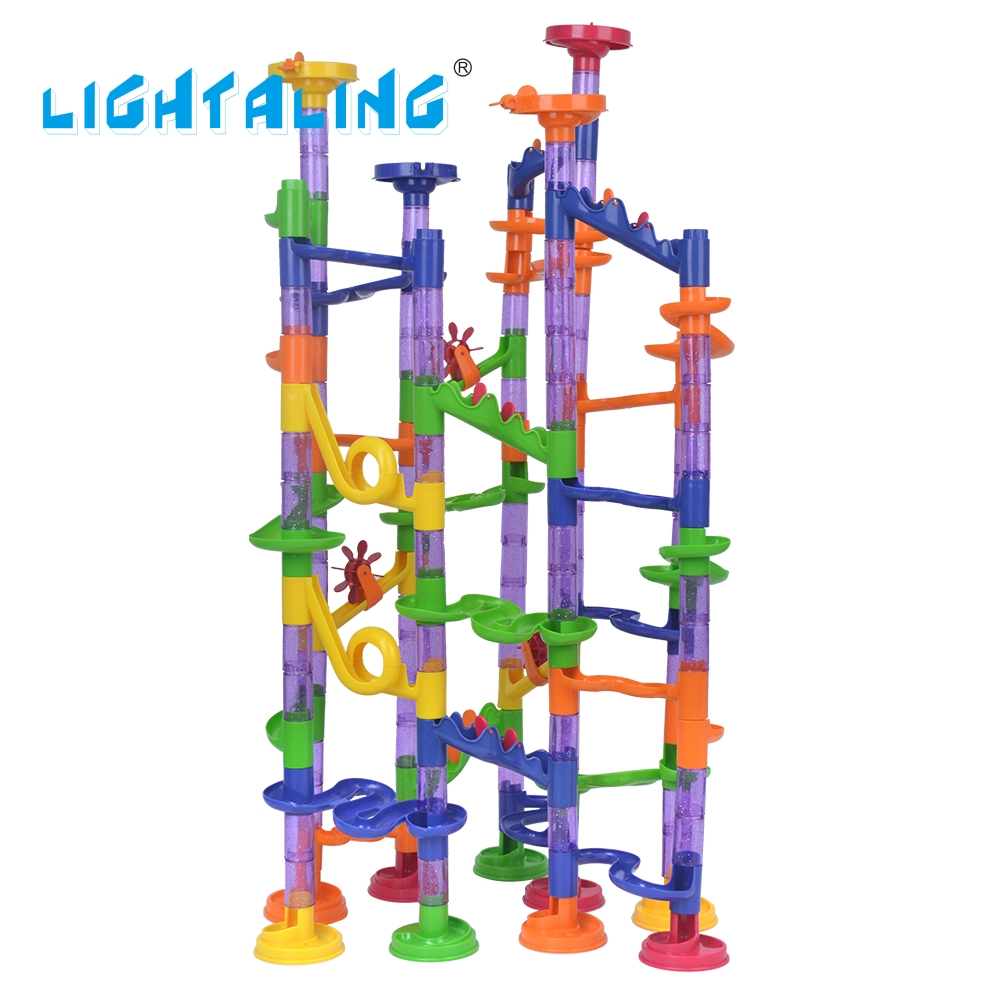 Lightaling 150pcs DIY Marble Run Intellect Ball Tracks Game Maze Balls Children Puzzle Educational Set Children Kids Gifts Toys 3d magical coin intellect maze ball kids amazing balance logic ability toys educational iq trainer game for kids chirstmas gifts