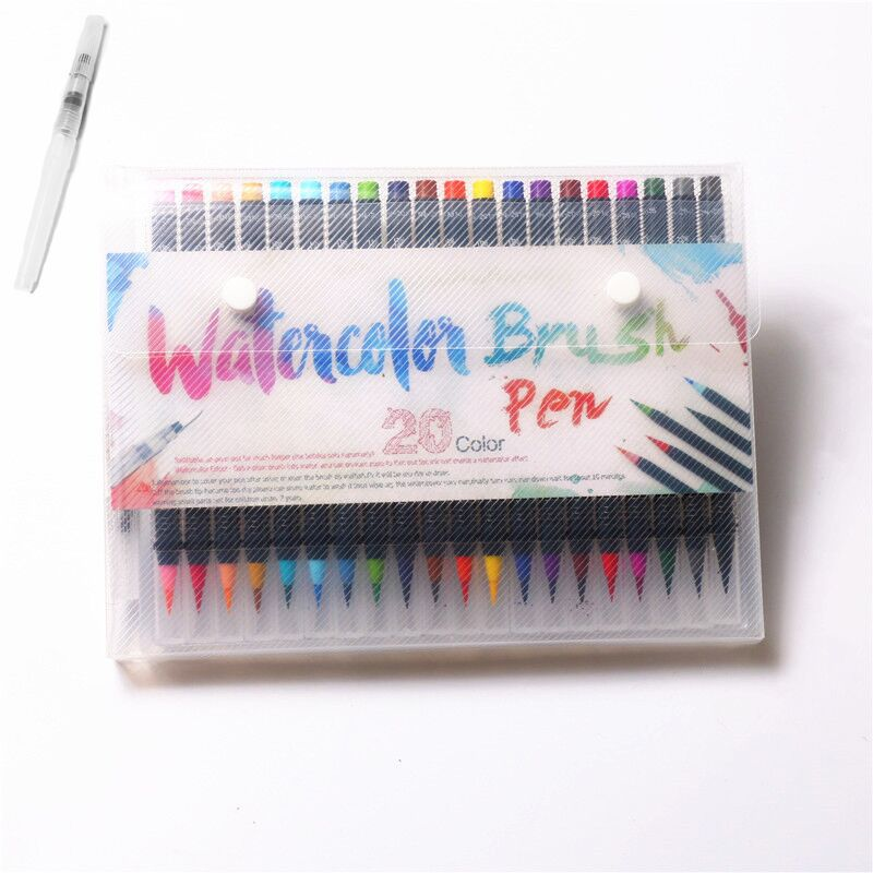 20 Colors Soft Brush Calligraphy Pen Watercolor Marker Brush Art Markers Cartoon Design Sketch Manga Graphic Drawing