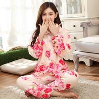 Warm Flannel Winter Nightwear Women Printing Red Flower Pajamas With Long Sleeve Turn Down Collar Plus