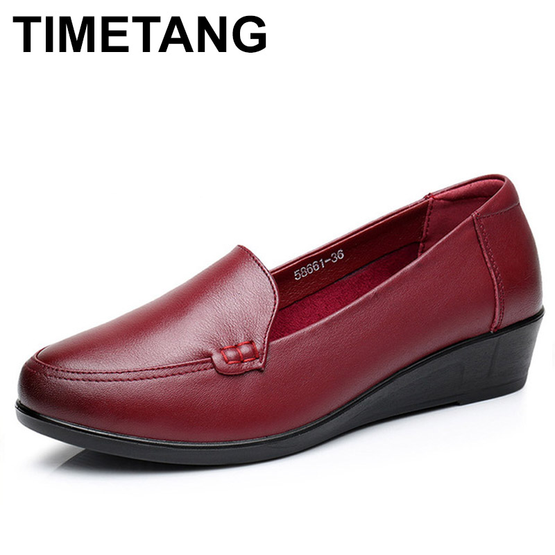 TIMETANG  Mother Old Female Women Shoes Flats Cow Genuine Leather Soild Round Toe Slip On PU Superstar Size 35-41 E156