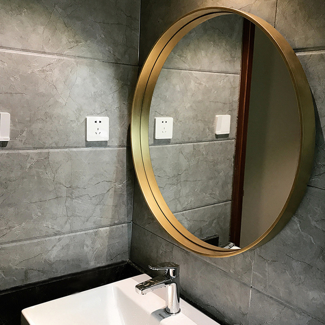 Beau Nordic Bathroom Mirror Wall Mounted Circular Decorative Mirror Home Makeup Mirror  Wall Bathroom Vanity Bathroom Mirror