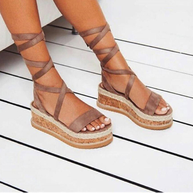 2cfbcd58839 Summer White Wedge Espadrilles Women Sandals Open Toe Rome Shoes Gladiator  Sandals Ladies Casual Lace Up Female Platform Sandals-in Middle Heels from  ...