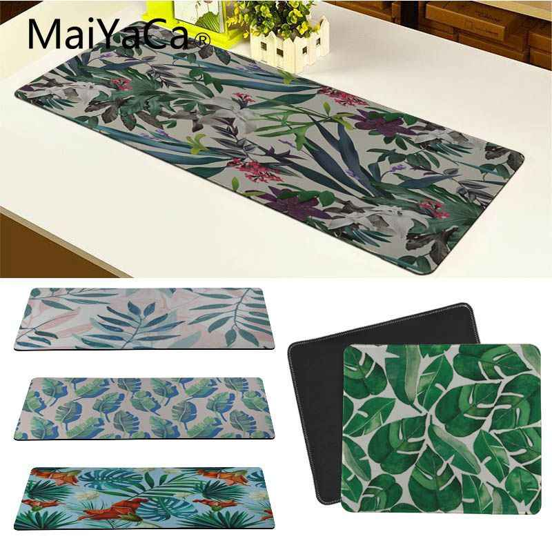MaiYaCa Tropical Leaves Flower Mint Feather mouse pad gamer play mats Keyboard Mat Desk Mat Computer Game Tablet Game Gaming