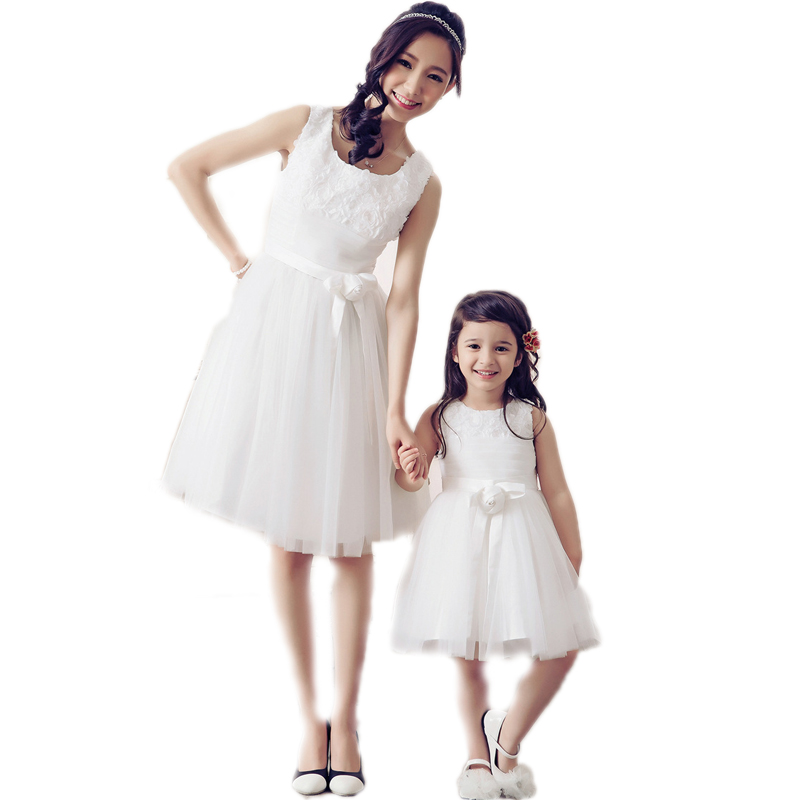 Mother Daughter Dresses 2016 New Brand Matching Mother Daughter Clothes Lace Solid Mother And Daughter Dresses Mesh Formal Dress запонки daughter qj03473