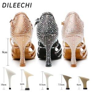 Image 3 - DILEECHI zapatos de baile latino con diamantes de imitación para mujer, zapatos de salón de Salsa, Cuba, tacón alto de 9cm, Software de Vals, gran oferta, bronce piel