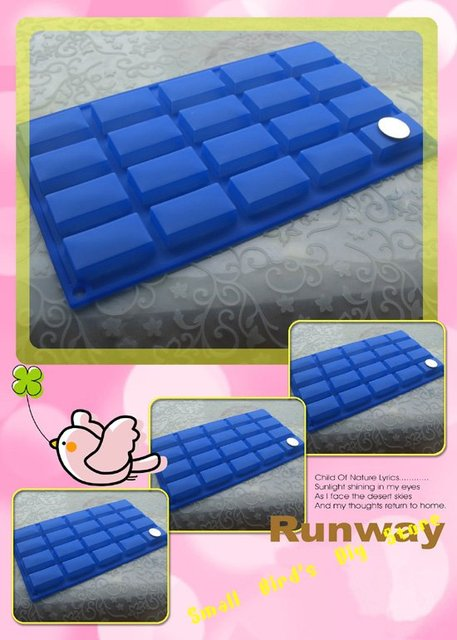food grade 20 strip silicone rectangle grid chocolate mold/ice /butter tray mold/candy mould/biscuit mold/cake decoration
