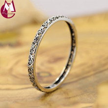 Bangle For Women 100% 925 Sterling Silver Vintage Indian Hollow Pattern Bohemian Cuff Bracelets Femme Fine Jewelry RB003(China)