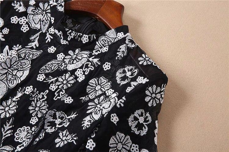 Ete Haute Noire Vintage Designer Broderie Femme Europe Truevoker Dentelle À Courtes Manches Femmes Partie Robe De Qualité yXZOnfqxO