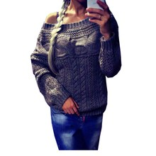 Selling Hot Casual Sexy Women Off Shoulder Long Sleeve Knit Knitwear Sweater Pullover Jumper