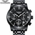 GUANQIN 2017 Mens watches Luxury Brand Quartz Watch Men Sport Watch Chronograph stainless steel Wristwatch relogio masculino A