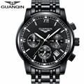 Guanqin 2017 mens relojes de marca de lujo de cuarzo reloj deportivo hombres reloj cronógrafo de acero inoxidable reloj de pulsera relogio masculino un