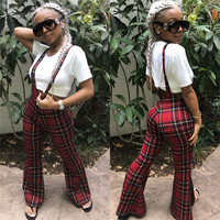 Red Plaid Regular Long Trousers England Style Woman High Waist Flare Pants Casual Female Elastic Waist Flat Overalls LS6151