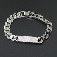 New copper Cuba bracelet 1cm wide 8inch Micro Pave zircon bracelet men's gift chain