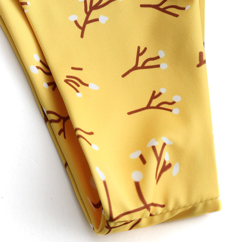 6a207297dea9c0 ZAFUL Bikini Bralette Tree Branch Bra with High Leg Bottoms Yellow Women  Swimsuit Sexy Spaghetti Straps Swimwear Unpadded Biquni-in Bikinis Set from  Sports ...