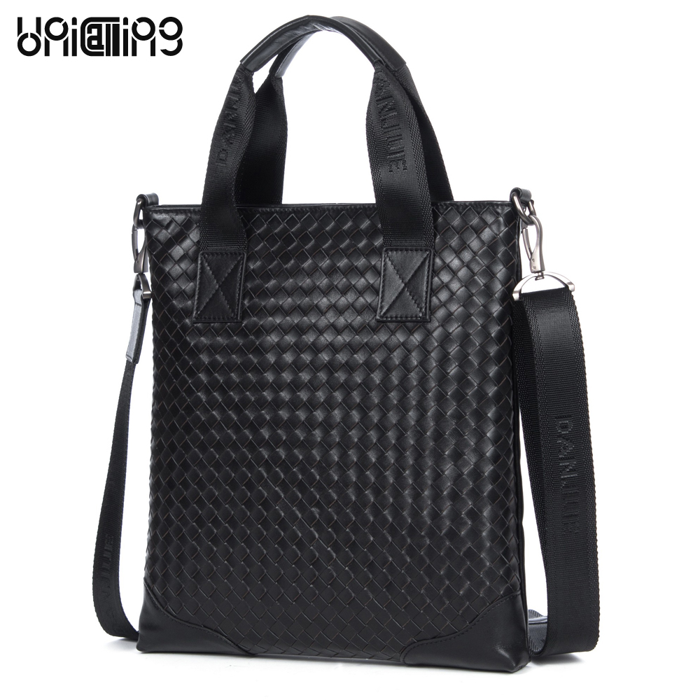 Brand luxury man bag high-end top layer of cowhide genuine leather handmade knitting fashion men crossbody handbag knitting bag high end brand leather men keep the combination of the real stock exchange zip pocket money cowhide mixed skin
