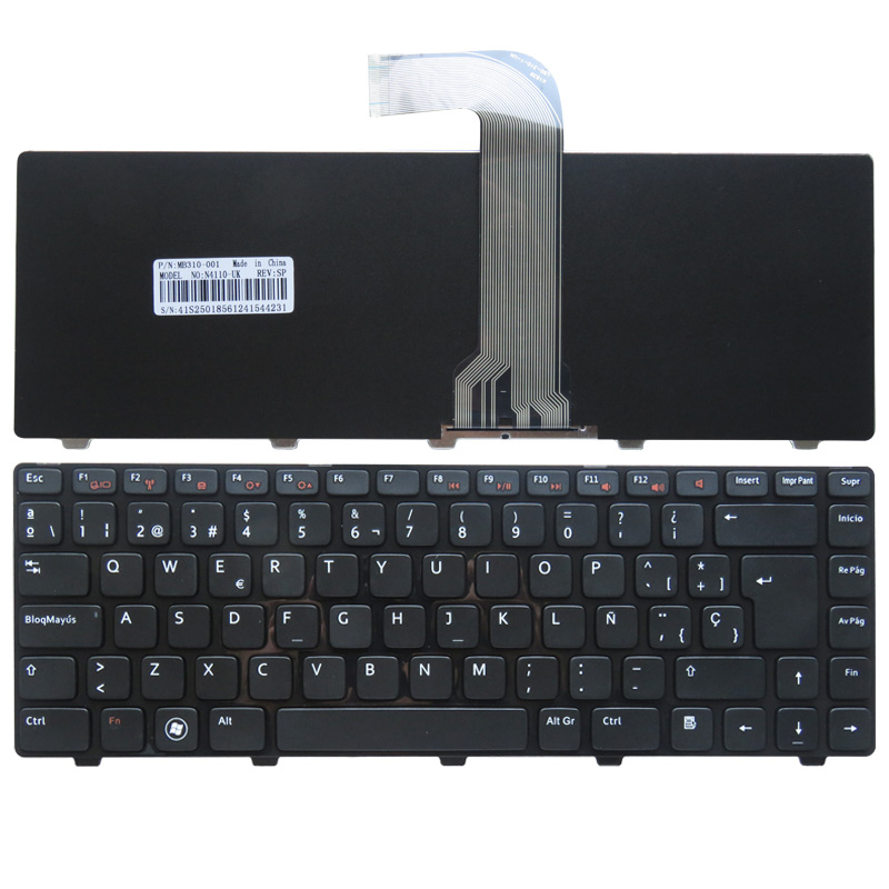 Španělská klávesnice pro notebooky DELL Vostro 3550 XPS L502 N4110 N4120 M4110 N4050 N5050 N5050 M5050 M5040 N5040 SP klávesnice