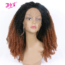 Deyngs Ombre Black To Brown Women's Lace Front Wigs Short Afro Kinky Curly Naturally Synthetic Hair Heat Resistant 180% Density