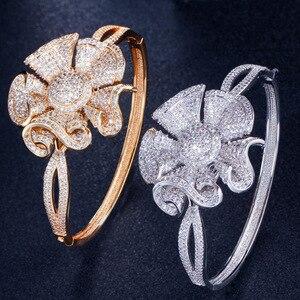 Image 5 - Pera luksusowe żółte złoto kolor pełna Shinning cyrkonia duże kwiatowe kształt bransoletka i pierścień kobiety biżuteria na przyjęcie zaręczynowe Z031