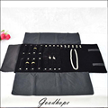 Portable Black Velvet Jewelry Roll Combo Travel Jewelry Display Roll for Rings Earrings Chains Bracelet Organizer Carrying Case