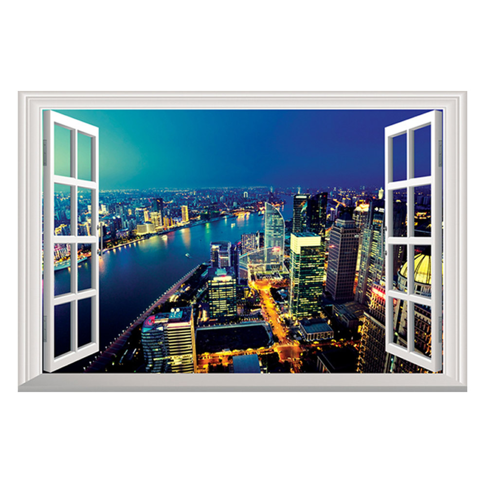 Home decoration 3d wall sticker night city view wallpaper for Room decor 3d self adhesive wallpaper