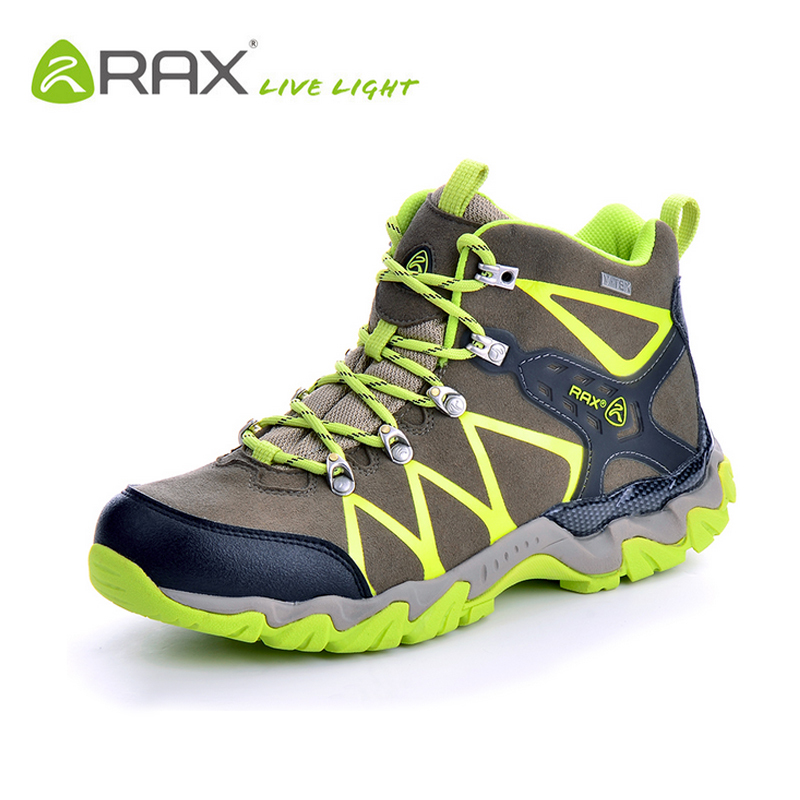 ФОТО RAX V-TEX Waterproof Hiking Boots Men Outdoor Climbing Walking Trekking Hiking Shoes Men Breathable Light Winter Mountain Boots