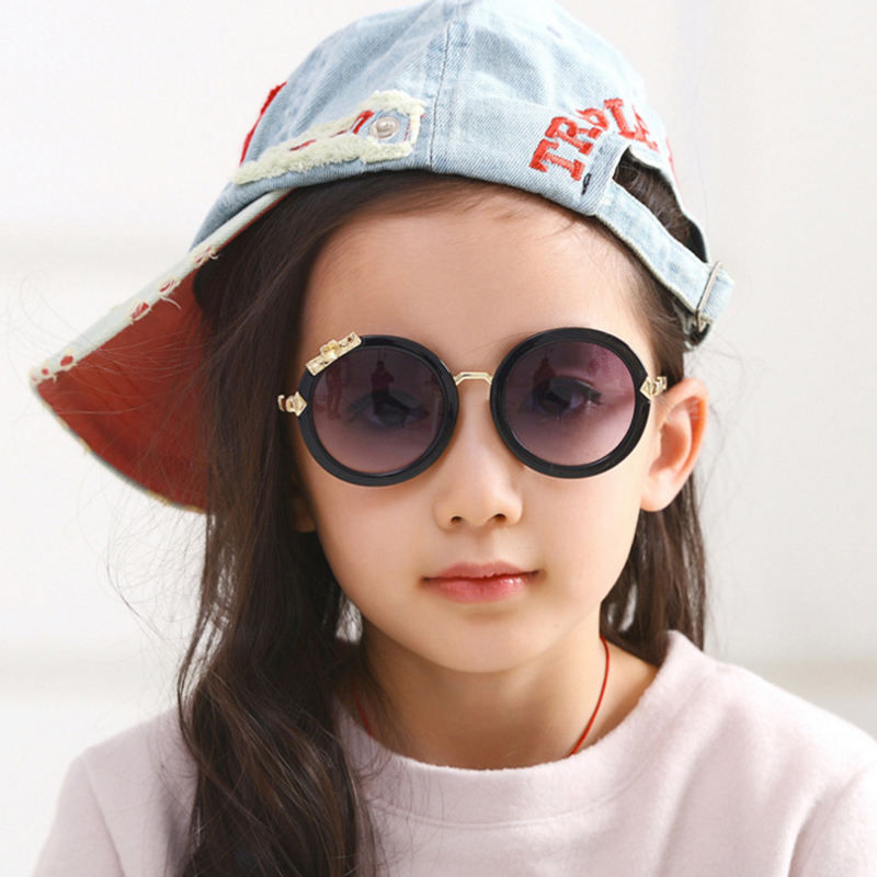 Luxury Brand Designer 2017 Kids Round Sunglasses Children Girls Cute Mirror Baby Circle Diamond Sun Glasses UV400 Mirror Kawaii