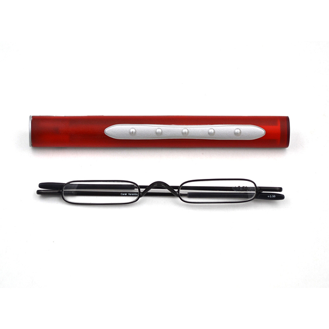 Ultralight Mini Folding Reading Glasses Women Men +1.0 to 4.0 Alloy Portable Container Presbyopia Pen Glasses Send with Box A1
