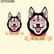 ZOTOONE Cute Cartoon Husky HIPSTER LAIKA Dog Patch Iron On Transfer Sticker For Clothing T-shirt A Level Applications C