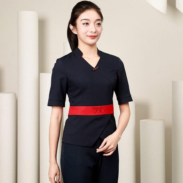 2018 spa uniform clothing women 2pcs set receptionist