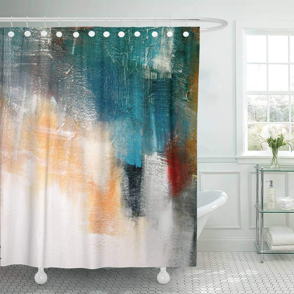 Mobel Wohnen Marble Shower Curtain Retro Paintbrush Colors Print For Bathroom Maybrands Com Ng