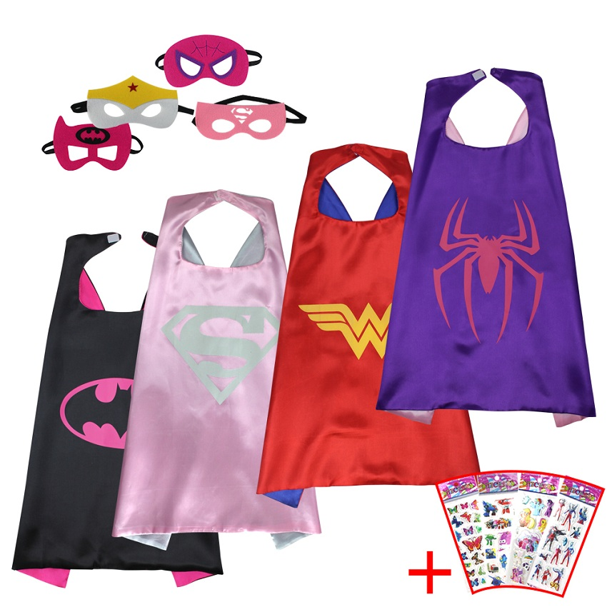 4 cape 4 sticker special l 27 girls superhero cape and mask costume for child fancy dress pink superman spider man cloak in boys costumes from novelty