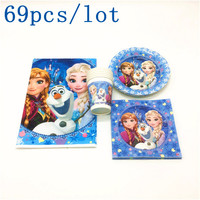 Disney Frozen Queen Elsa Disposable Tablecover Napkin Cup Plate Kid Birthday Family Party Decoration Tablecloth Supply 69Pcs/lot